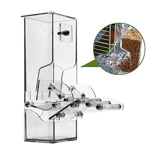 Yongqin - Comedero de semillas para jaula de pájaros que no ensucia, sistema automático de forrajeo para alimentos, para loros, con percha, acrílico resistente, moldura de un solo paso