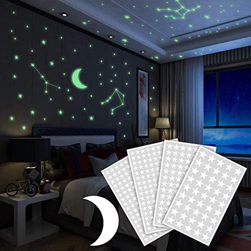 Yosemy Luminoso Pegatinas de Pared Luna y Estrellas Fluorescente Decoración de Pared para Dormitorio de Niños DIY Decoración de la Habitación Para Niña y Bebé, 425 Pzas
