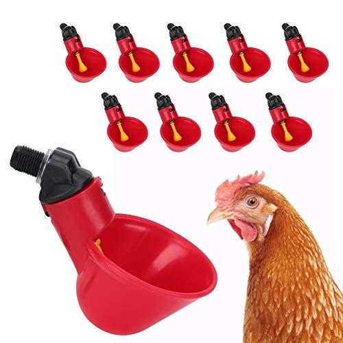 Yuehuam 10 Piezas Máquina Automática para Beber Aves de Corral Pollo Bebedero Automático Bebedero Agua Potable Herramienta Jaula Accesorios para Pato Gallina Codorniz Cuenco de Agua
