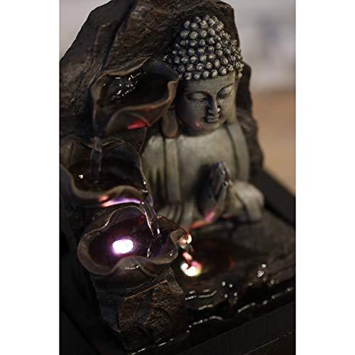 Zen'Light SPIRITUALITE - Fuente de polirresina de Color marrón Oscuro, 21x 21x 26cm.