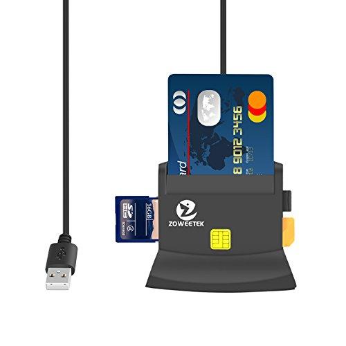 ZOWEETEK® Lector de DNI Electrónico multifunción para Todo Tipo de Tarjeta de Apoyo,Color Negro